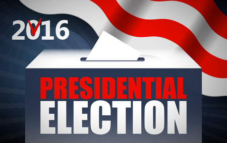 polling booth: USA presidential election day concept vector illustration. Putting voting paper in the ballot box with american flag on background. Voting concept in flat style. Illustration