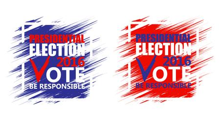 2016 USA presidential election poster. Brush strokes background. Illustration