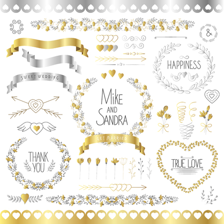 romantic date: Wedding romantic collection with labels, ribbons, hearts, flowers, arrows, wreaths, laurel and birds. Gold and slver. Graphic set in retro style. Save the Date invitation in vector.