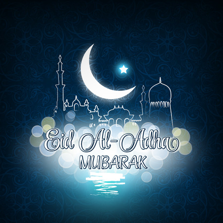 Vector illustration of Eid Al Adha Mubarak blue background with mosque