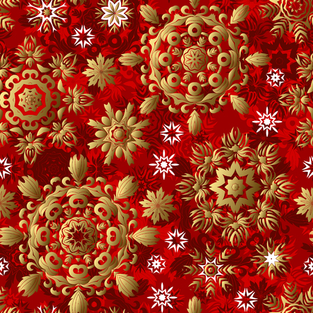 Seamless bright red christmas pattern with gold ornate snowflakes, vector background
