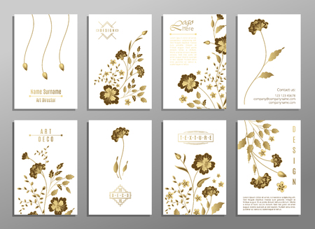 japanise: Set of flower universal card. Vector layout decorative greeting card or invitation design background