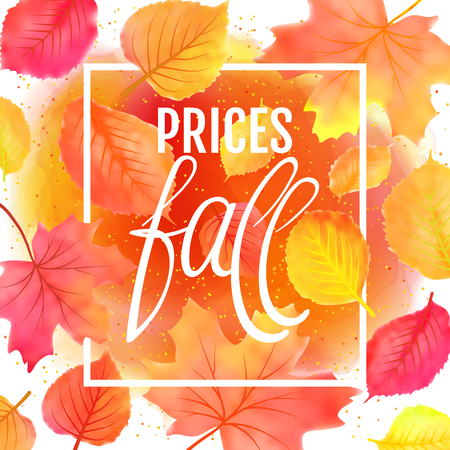Watercolor imitation autumn foliage vector sale banner. Prices fall lettering. Not trace.