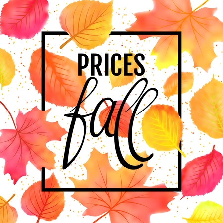 Watercolor imitation autumn foliage vector sale banner. Prices fall lettering. Not trace
