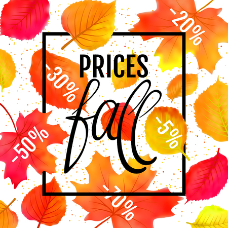Watercolor imitation autumn foliage vector sale banner. Prices fall lettering. Not trace. Bright leaf on white background. Illustration