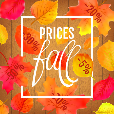 Watercolor imitation autumn foliage vector sale banner. Prices fall lettering. Not trace. Bright leaf on wooden background.