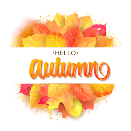 Hello autumn lettering. Fall leaf. Typographic template. Round bouquet of leaves. Vector illustration Illustration