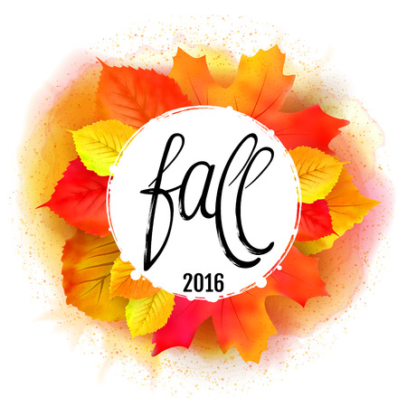 Hand made lettering Fall over round label with leaves on white background. Watercolor leaf wreath