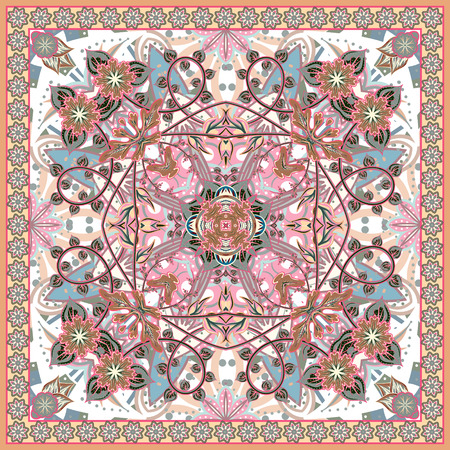neck scarf: Abstract graphic background, square pattern with fantasy flowers geometric ornament. Bandanna shawl fabric print, silk neck scarf or kerchief design, vector illustration. Pastel pink blue