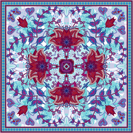 hanky: Abstract graphic background, square pattern with fantasy flowers geometric ornament. Bandanna shawl fabric print, silk neck scarf or kerchief design, vector illustration. Purple on blue