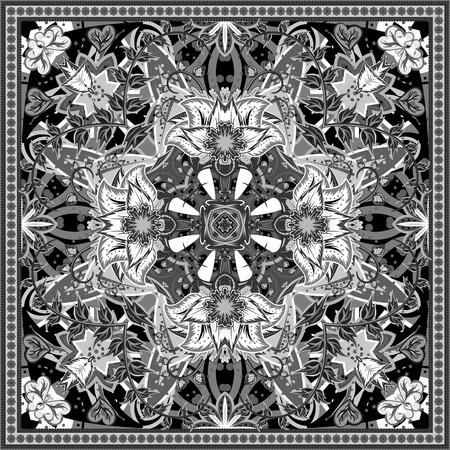 hanky: Authentic silk neck scarf or kerchief square pattern design in eastern style for print on fabric, vector illustration. Black and white colors.