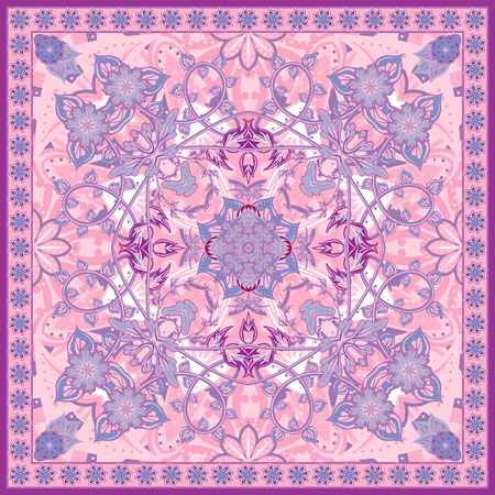 Authentic silk neck scarf or kerchief square pattern design in eastern style for print on fabric, vector illustration. Lilac pink colors Illustration