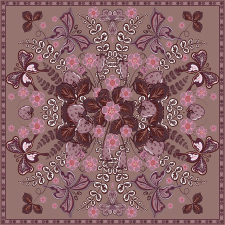 Decorative color floral background, strawberry and butterfly pattern and ornate lace frame. Bandanna shawl fabric print, silk neck scarf, kerchief design, vector illustration. Violet square decoration