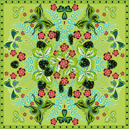 hanky: Decorative color floral background, strawberry and butterfly pattern and ornate lace frame. Bandanna shawl fabric print, silk neck scarf, kerchief design, vector illustration. Green square decoration Illustration