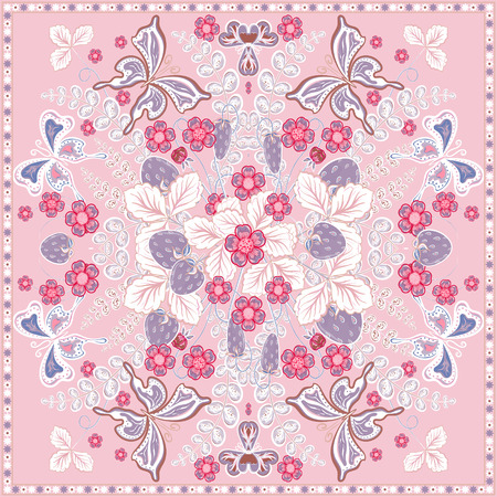 ascot: Decorative color floral background, strawberry and butterfly pattern and ornate lace frame. Bandanna shawl fabric print, silk neck scarf, kerchief design, vector illustration. Pink square decoration