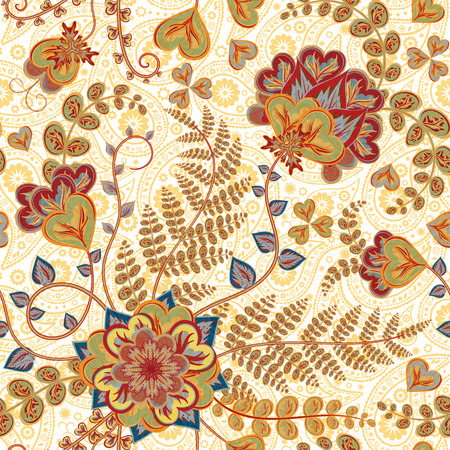 jacobean: Ornate fantasy flowers seamless paisley pattern. Floral ornament on dark background for fabric, textile, cards, wrapping paper, wallpaper template.Ornamental bright motif. Beige on white.
