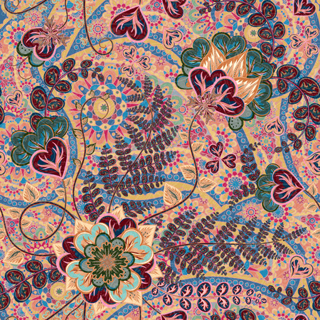 jacobean: Ornate fantasy flowers seamless paisley pattern. Floral ornament on dark background for fabric, textile, cards, wrapping paper, wallpaper template.Ornamental bright motif. Pastel