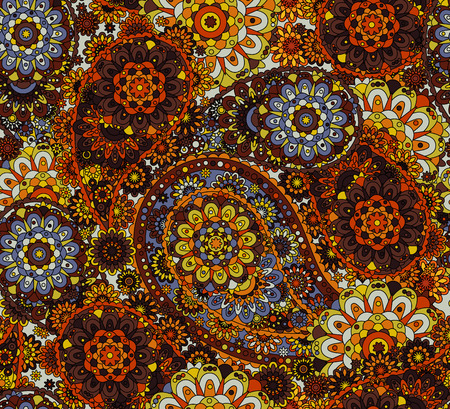 Traditional paisley pattern silk headscarf sample. Eastern cloth presents and gifts concept Çizim