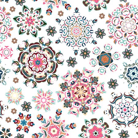 vintage background pattern: Seamless pattern. Vintage decorative elements. Hand drawn background. Islam, Arabic, Indian, ottoman motifs. Perfect for printing on fabric or paper. Pastel blue pink beige on white