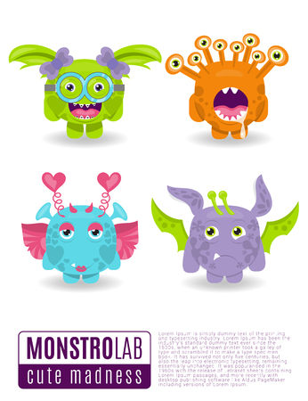 grins: Cute vector illustration monsters with toothy grins