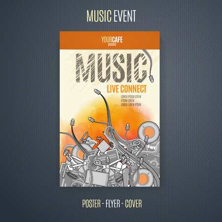 lead guitar: Vector template for a concert poster or a flyer featuring an live music event.