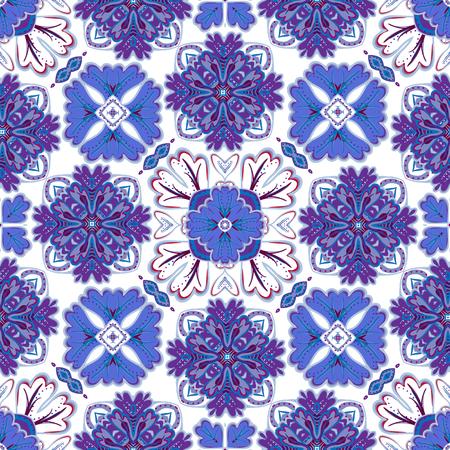 spanish tile: Spanish traditional ornament, Mediterranean seamless pattern, tile design, vector illustration Illustration
