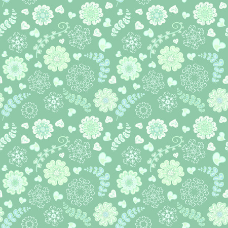 Floral seamless pattern with flowers. Copy square to the side and you'll get seamlessly tiling pattern which gives the resulting image ability to be repeated or tiled without visible seams Ilustração
