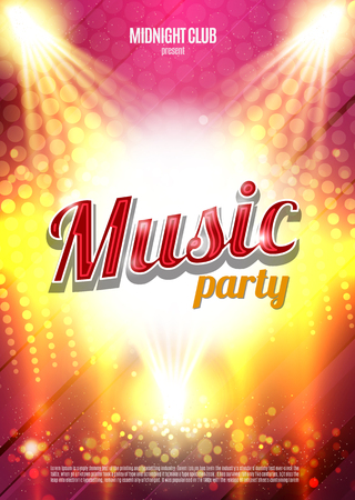 Music Party Poster Background Template - Vector Illustration