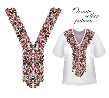 Shirt, jacket and T-shirt collar pattern. Embriodery ornament. Vector. Bright vinous brown Illustration