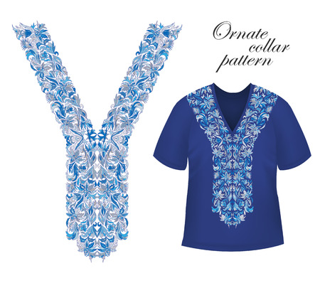 tunic: Shirt and jacket collar pattern. Embriodery ornament on blue T-shirt mock up. Vector. Blue Illustration
