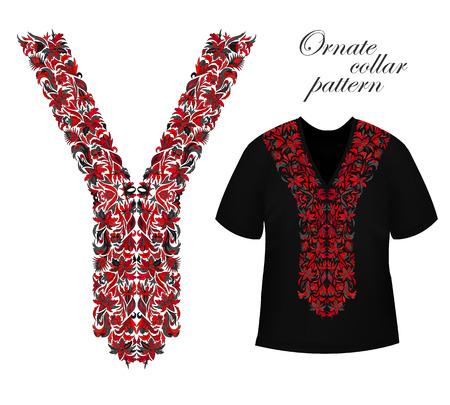 Conception pour chemises à col, chemisiers. Les couleurs noires et rouges ethniques cou de fleurs. Floral bordure décorative sur le noir T-shirts maquette. Vecteur
