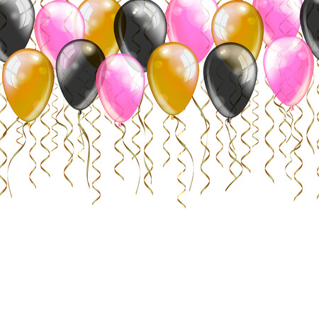 pink balloons: Vector greeting card template. Gold black pink balloons and serpentine on white background