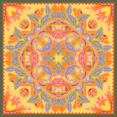 Floral tablecloth background. Strawberry authentic silk neck scarf or kerchief square pattern design for print on fabric, vector illustration. Orange yellow gray colors Illustration