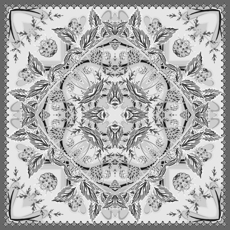 Floral tablecloth background. Strawberry authentic silk neck scarf or kerchief square pattern design for print on fabric, vector illustration. Gray colors