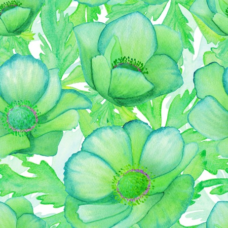 Watercolor seamless pattern with anemones. Raster texture for banner, invitation or other design. Green