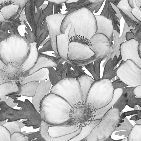 gray anemone: Watercolor seamless pattern with anemones. Raster texture for banner, invitation or other design. Gray.