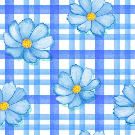 Seamless flowers cosmos on a gingham checks blue colors. Watercolor blue flowers on stripes ornament.