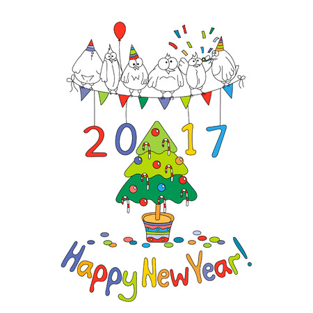 cheerfully: Happy New Year greeting card with cartoon funny birds. Hand draw vector illustration. Bright colors.
