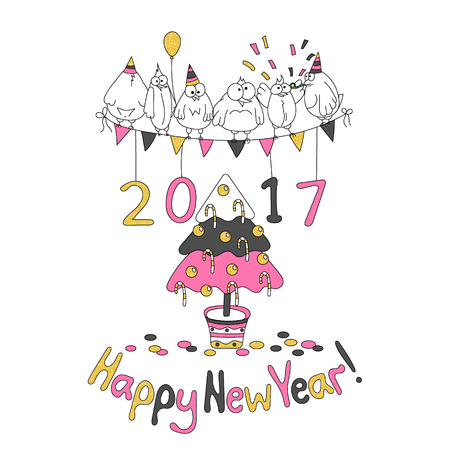 cheerfully: Happy New Year greeting card with cartoon funny birds. Hand draw vector illustration. Trendy colors. Glitter gold, pink gray.