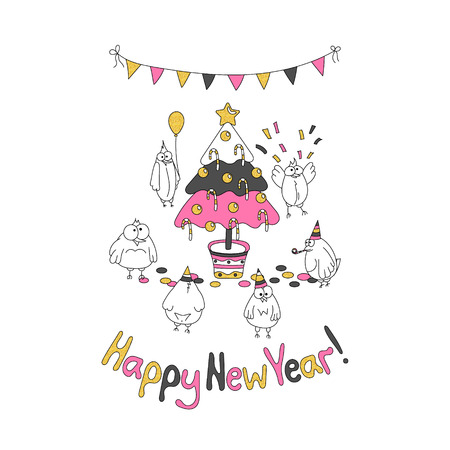 Happy New Year greeting card with cartoon funny birds. Hand draw vector illustration. Trendy colors. Glitter gold, pink gray.