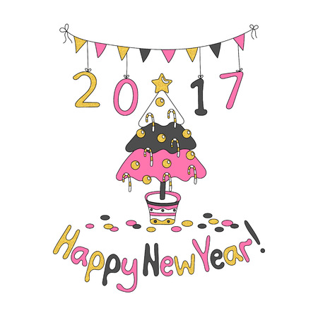 Happy New Year greeting card with spruce. Cartoon style. Hand draw vector illustration. Trendy colors. Glitter gold, pink gray.