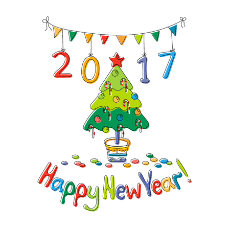 Happy New Year greeting card with fir. Cartoon style. Hand draw vector illustration. Bright colors. Illustration