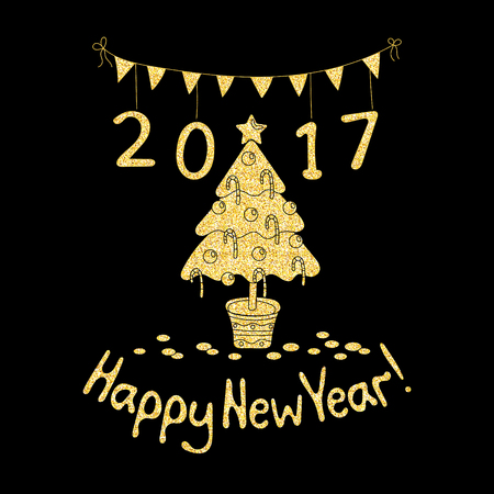 Happy New Year greeting card with spruce. Cartoon style. Hand draw vector illustration. Glitter gold on black.