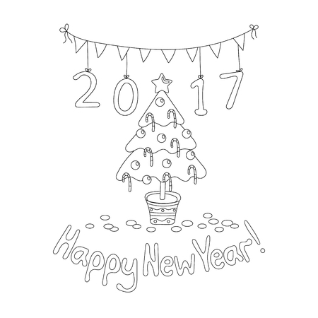cheerfully: Coloring book page. Happy New Year greeting card with spruce. Cartoon style. Hand draw vector illustration. Black outline.