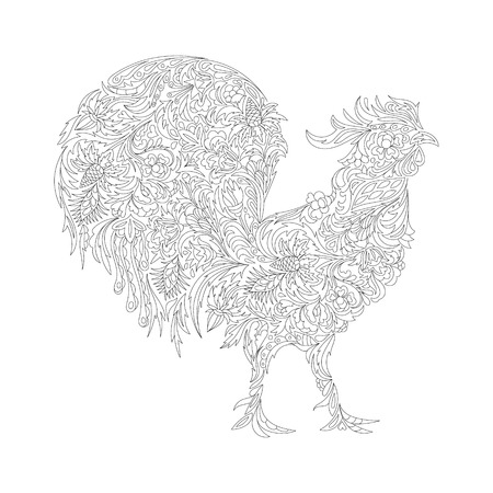 Vector illustration of rooster, symbol of 2017 on the Chinese calendar. Silhouette of cock, decorated with floral patterns. Vector element for New Years design.