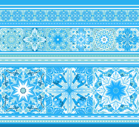 Seamless blue border with snowflakes in mandala style. Vector horizontal seamless wrapping or pack paper pattern