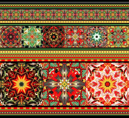 Embroidered good like handmade cross-stitch ethnic pattern. Khoholoma colors seamless background. Illustration