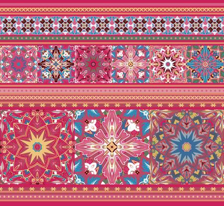 pastel like: Embroidered good like handmade cross-stitch ethnic Ukraine pattern. Pastel pink blue seamless background. Illustration