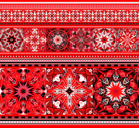lappet: Embroidered good like handmade cross-stitch ethnic Ukraine pattern. Red black white seamless background. Illustration