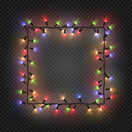 quadratic: Christmas colorful bulbs, garland forming a square, vector. Festive blank quadratic frame with electric garland Illustration